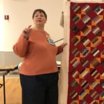 Grace Thorne showing us her beautiful quilt; January, 2019