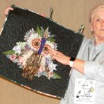 Gale Vernon challenged herself to go outside her comfort zone in her lovely owl wall hanging.  She used a decoupage technique to add dimension and interest to her design.